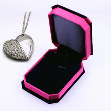 New Jewelry Silver Heart with Chain Usb 2.0 Memory Flash Stick Pen Drive with Elegant Nice Box for Wedding Marriage