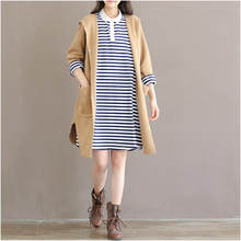 Women Autumn Knitted Hooded Trench Female Sweaters Ladies Khaki Knitting Coat Outwear Overcoat Loose