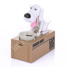 Hot Style White Color Quality Mechanical Adorable Hungry Robotic Dog Coin Bank Save Saving Box Collection Coin Bank Gift(China)