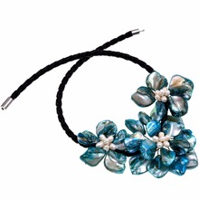 White freshwater Pearl turquoises baroque 3 shell flower Chokers necklace(China)