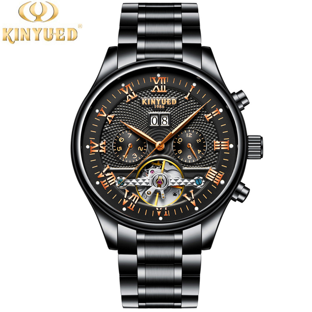 KINYUED Skeleton Automatic Watch Men Waterproof Flying Tourbillon Mechanical Mens Watches Top Brand Luxury relogio masculino<br>