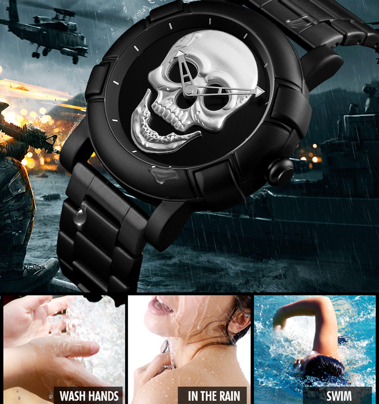Luxury SKMEI Creative Gold Skull Quartz Watch Men Stainless Steel Clock Waterproof Mens Wristwatch Relogio Masculino relojes 11