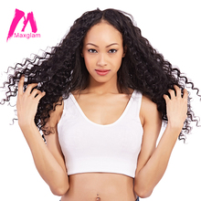 Maxglam Brazilian Virgin Hair Deep Wave Unprocessed Natural Color Human Hair Weave Bundles Free Shipping