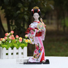 2016 japanese geisha Figurines Decorative Fabric crafts Novelty home Ornament Traditional Culture Hand-made vintage home decor(China)