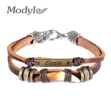 Modyle Men leather bracelets bangles wolf tooth multilayer leather with alloy men jewelry bracelet love design vintage brown