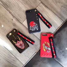 2017 Cool Rivet Embroidery Chinese Dragon Plastic Case with Wrist Strap for iPhone 6 6s 7 plus Hard Back Case Funda Cover
