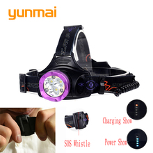 Usb 15000 lumen 6 Led Headlight with SOS Whistle Red Light 3*XML-T6+3 Led Head Torch 18650 or AA Battery Head Lamp for Hunting