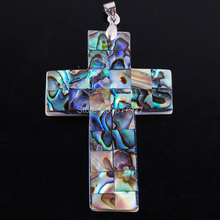 Free shipping New Zelanian Abalone Shell Pearl Cross Bead Pendant Gem Jewelry N964