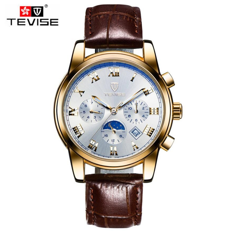 Casual Tevise Fashion Montre Homme Mens Sapphire Day/Week Moonphase Automatic Mechanical Watches Gift Box Free Ship<br>