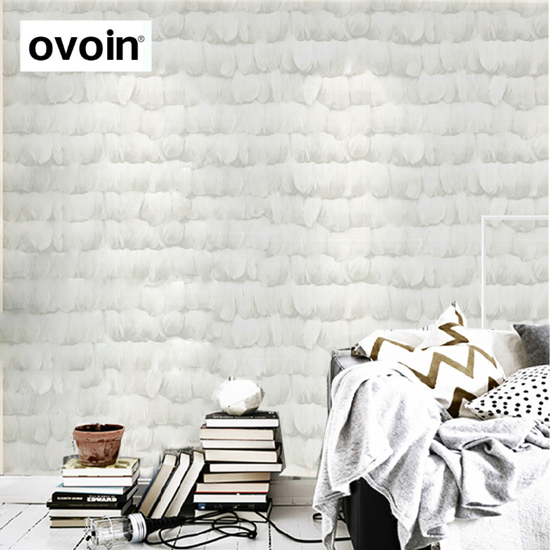Modern 3D PVC Vinyl Wallpaper White Gray Textured Feather Wallpaper For Bedroom Livingroom<br>