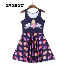 NEW  1173 Sexy Girl Women Summer fire head skull angel heart 3D Prints Reversible Sleeveless Skater Pleated Dress