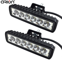 "2Pcs 6"" 18W LED Light Bar 12V 24V Motorcycle Offroad 4x4 ATV Spot Daytime Running Lights Truck Tractor Warning Work Spotlight"