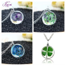 Transparent Crystal Ball Pendant Necklace Fresh Dried Dandelion Flower Necklace Lucky Wish Locket Jewelry Gift For Women + Box