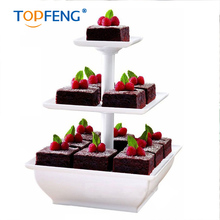 2017 TOPFENG Creative Assemble Snack Server 3 Tiers Square Shape Cake Stand Wedding Birthday Party Supplies Cupcake Hold Display