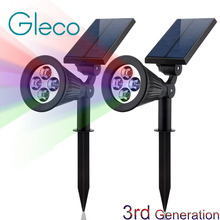 2Pack Solar Powered Spotlight 4LED Solar Lamp RGB Color changeable IP44 Waterproof Outdoor Garden Landscape Yard Spot Light