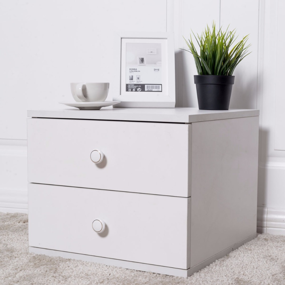 Giantex 13 High Night Stand End Table Bedside Cabinet Modern Bedroom Furniture with 2 Storage Drawers Wood Nightstands HW55450<br>
