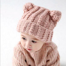 New Toddler Kids Girl&Boy Baby Infant Winter Warm Crochet Knit Hat Cute Two Ears Baggy Beanie Cap(China)