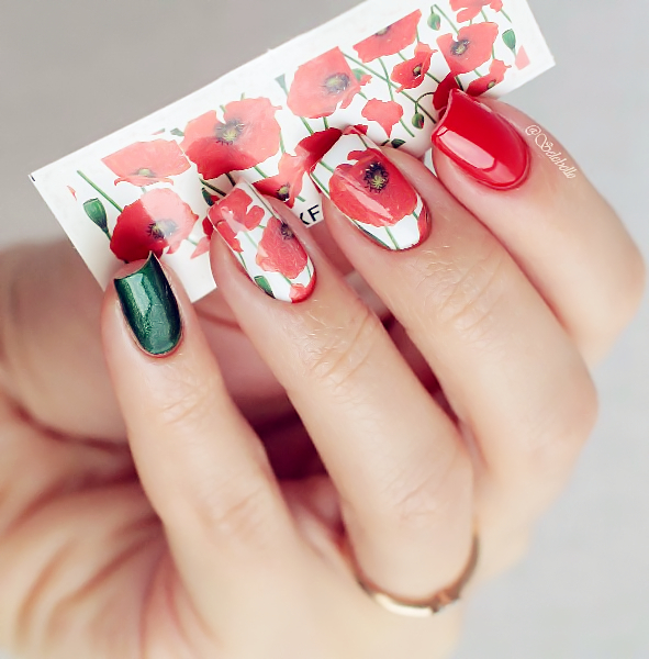 Full Nail Water Decals Sticker Hot Red Flower Pattern XF1390 Nail Stickers Nail Art Decorations(China (Mainland))