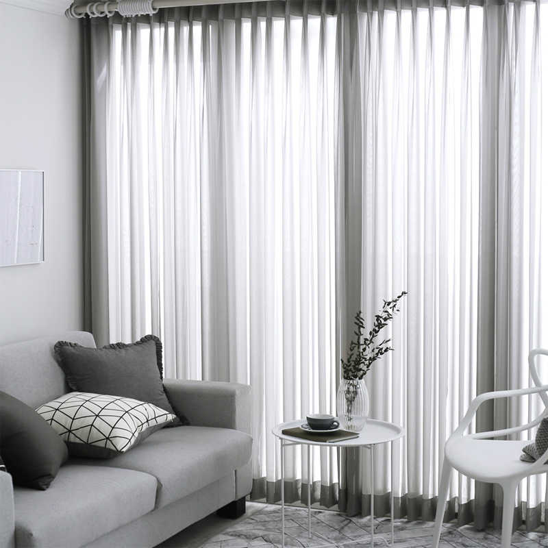 Solid Sheer Curtains Japanese and Korean Bedroom Decorations Kitchen Tulle Window Curtain Living Room