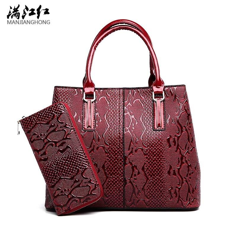 New Luxury PU Leather Women Handbag 2 Pcs Composite Bags Set Lady Shoulder Crossbody Women totes Bag Female Wallet Clutch<br>