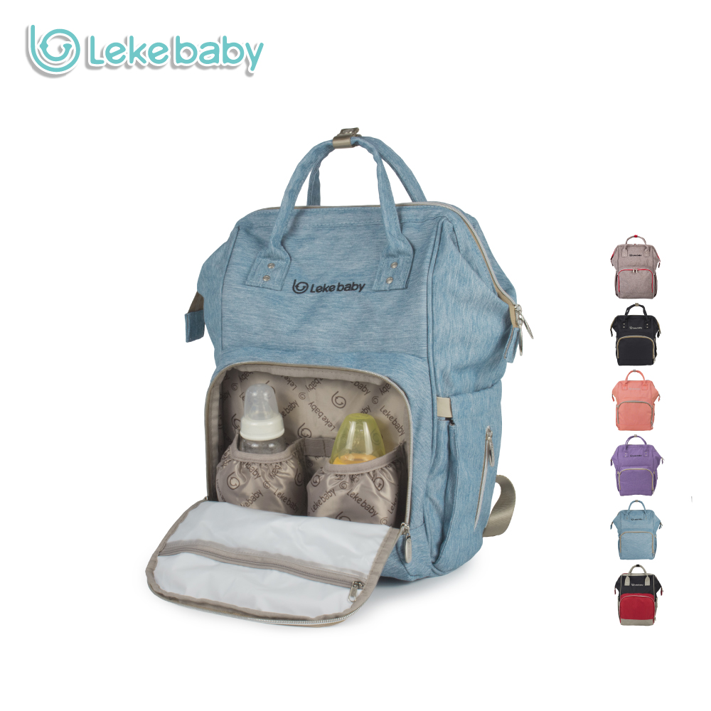 Lekebaby Mummy Maternity Chaning Nappy Bag Oversized Opening Nursing Diaper Backpack Built-in Steel Ring Support for Baby Care<br>