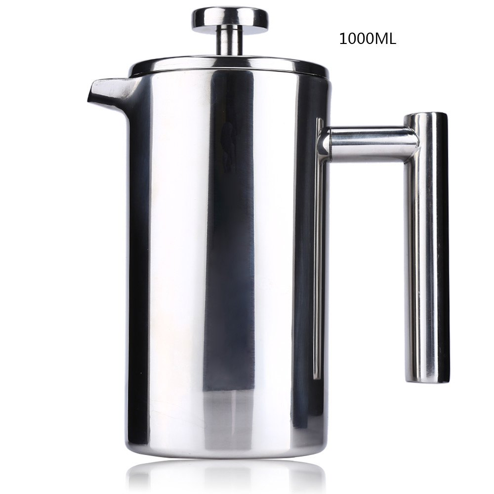 1000ML Stainless Steel French Cafetiere with Filter Permanent Coffee Filter Baskets Espresso Coffee Maker Double Wall Coffee Pot<br>