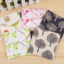 1Pcs New Brief Cotton Full Dots Sanitary Napkin Bags Cute Traveling Travel Bag Sanitary Towel Storage Bag 12.5 X 13cm