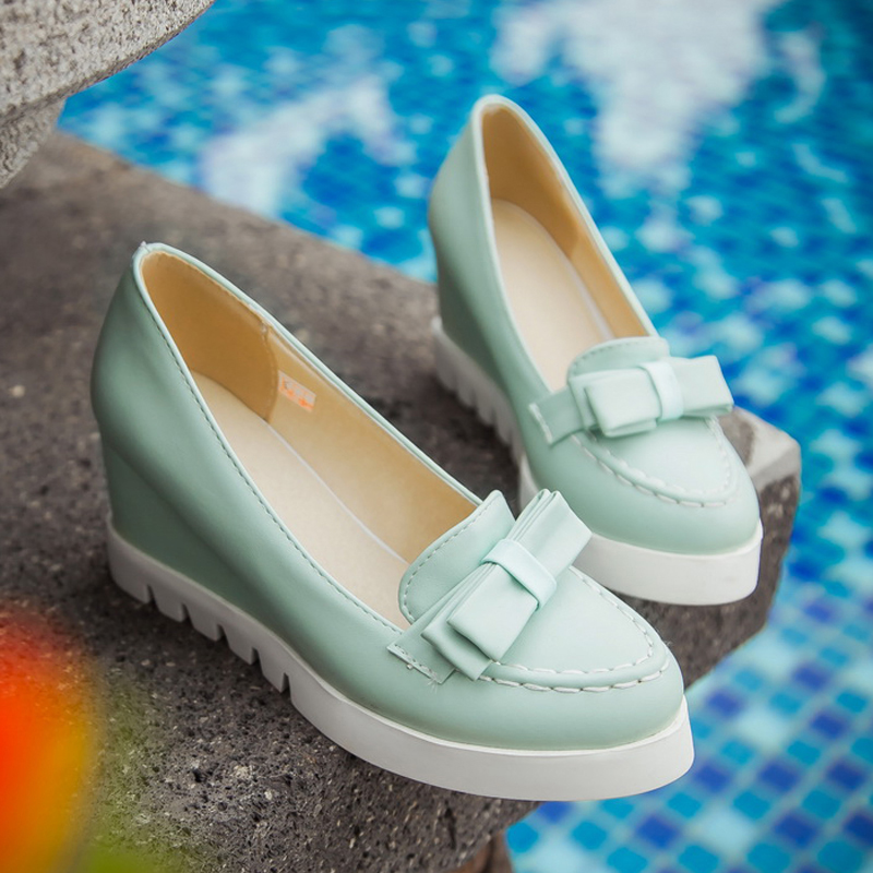 South Korean sweet style comfortable round toe pumps fashion bowknot slip platform pink white blue high-heeled womens shoes<br>