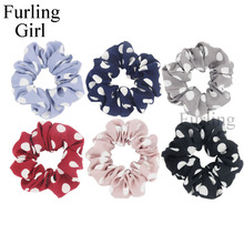 Furling Girl 1PC White Big Polka Dots Fabric Hair Scrunchy Ponytail Holder Hair ties Gum Hair Bands