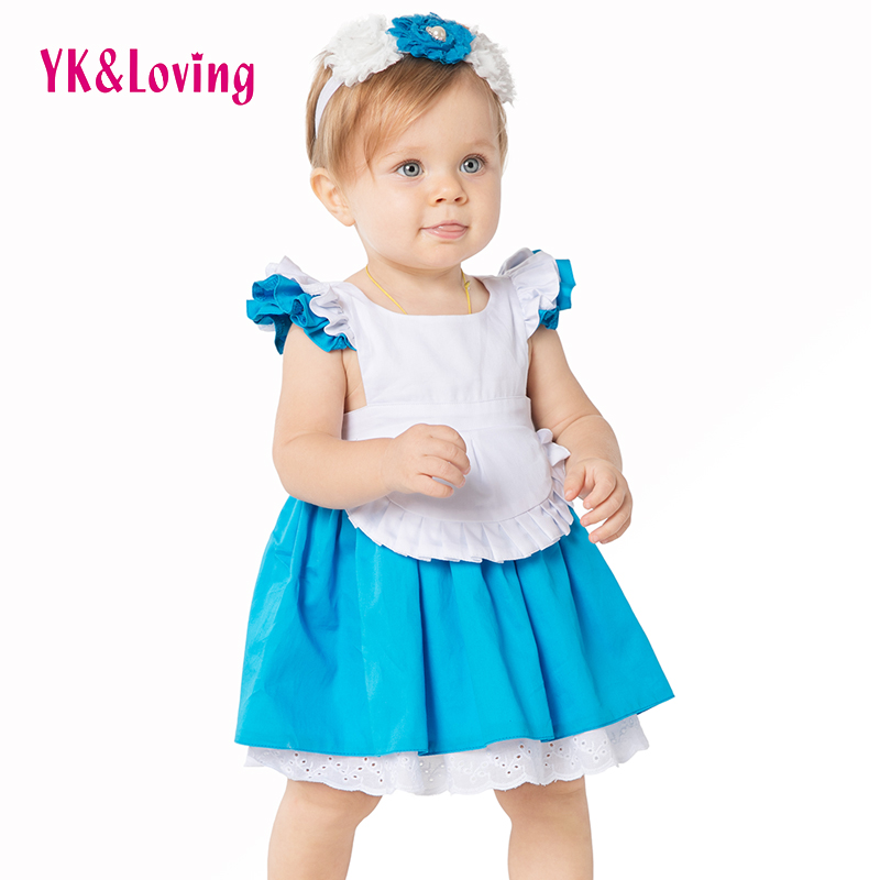High Quality Alice Dress In Wonderland Halloween Costume Dress 2017 Fashion Blue White Party Ruffles 2Pcs Kids Outfits 1-8 years<br><br>Aliexpress