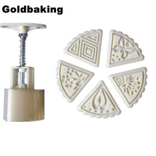 50g Sector Moon Cake Mold Plunger Mid-Autumn Festival Hand-Pressure Mooncake Mould With 5 Pattern