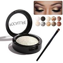 FOCALLURE Metallic Baked Eyeshadow Palette Makeup Glitter Eye Shadow Cosmetics Powder Minerals Single Eyes Palette with Brush Z3
