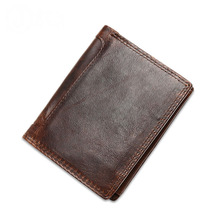 Gold Catalpa - Best Selling Genuine Leather Men's Wallet Cow leather Purse Chocolate bag coin card holder gift for men(China)