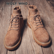 WOLF 누가 새 Winter Men Shoes 패션 남성 Lace Up Warm Ankle Boots Men British style Shoes Men 가죽 Boots buty meskie X-032(China)
