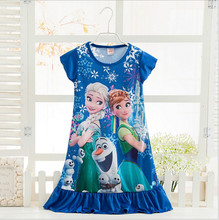 Anna Elsa Dress Children Clothing Summer Dresses Girls Baby Pajamas Costume Princess Nightgown Vestidos Infantis Clothes