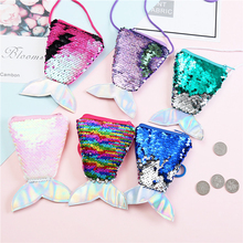 Mermaid Tail Sequins Coin Purse Women Small Crossbody Bag Girls Fashion Long String Wallet Children Money Card Pocket Kids Gift