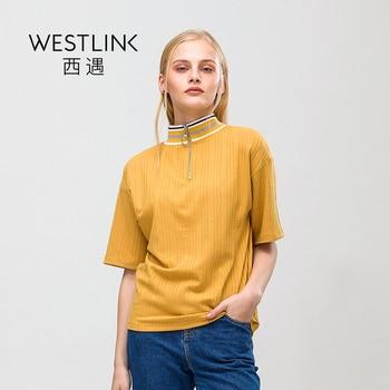 Westlink 2017 Printemps Nouvelle Bande Col Roulé Ronde Anneau Demi-Fermeture Éclair Manches T-shirts Femmes Jaune