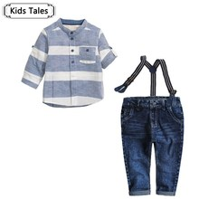 ST256  2016 children sets spring fashion clothes baby jeans 2 pcs sleeve cotton suit + jeans boys clothing set kids clothes