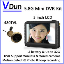 5.8G Wireless Door Peephole Camera with DVR,100m Range 90 Degree VOA ;5-inch Screen,Motion Detect Recording,  VD-TE850H