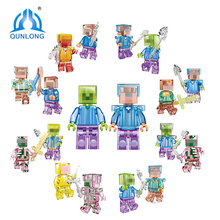 Buy Qunlong Mine World Shadow Action Figures Crystal Steve Skeleton Minecrafted Compatible Legoe City Building Blocks Education Toys for $7.29 in AliExpress store