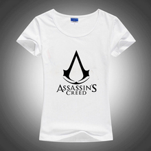 Assassin Creed Slim Style Sublimation Print White Tshirt Women T shirt Harajuku T-shirt Tee Shirts Gothic Anime Rock Punk(China)