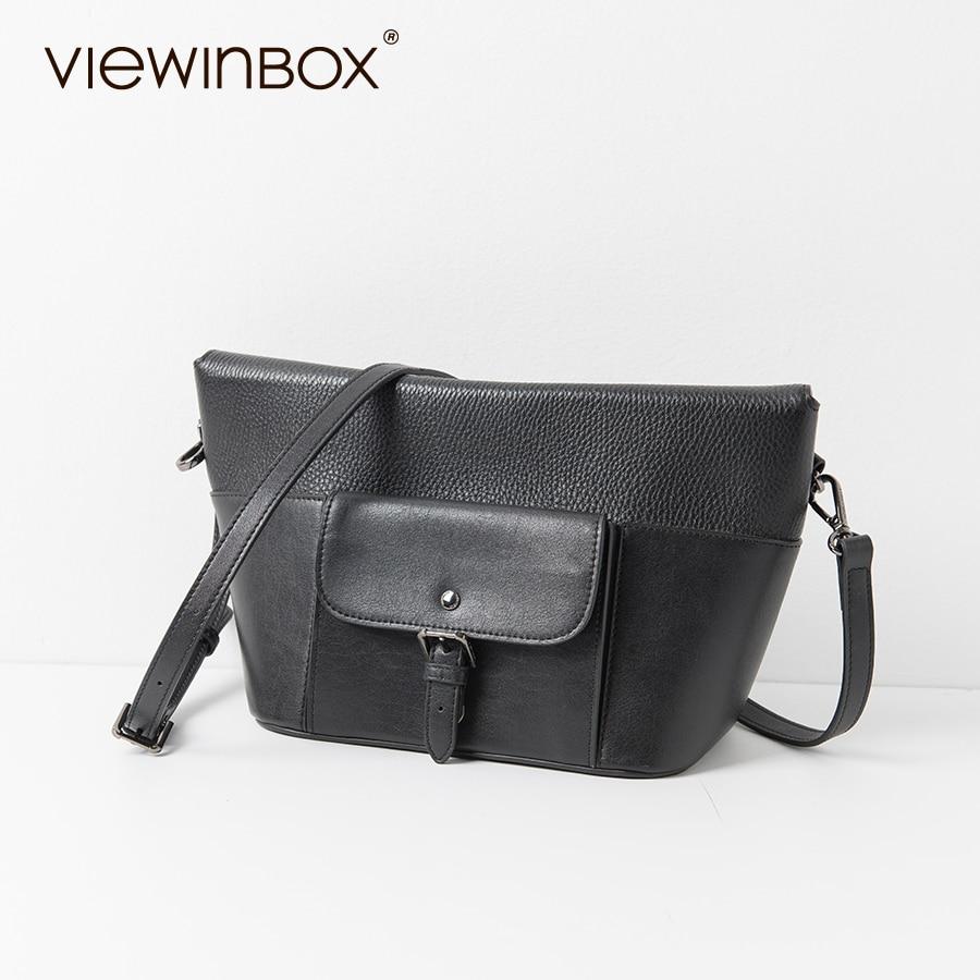 Viewinbox Luxury Hobos Handbags Black Cattle Leather Patchwork Lichee Messenger Bags Single Shoulder Bag<br><br>Aliexpress