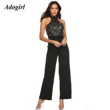 (Ship from US) Adogirl Sexy Backless Halter Sequin Jumpsuit Women Elegant  Sleeveless Wide Leg Pants Rompers Evening Club Party Slim Overalls 8a4bfaa9b774