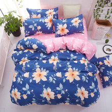 Plant pattern print Cartoon Checked Bedding Set for comforer Single Double Queen Sizes Bed Sheet with Pillow Cases 3pcs/4pcs(China)