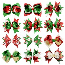 Newest 15pcs/lot 4.4 Inch Grosgrain Ribbon Bows Accessories With Clip Boutique Bow Hairpins Hair Ornaments Christmas Style 660(China)