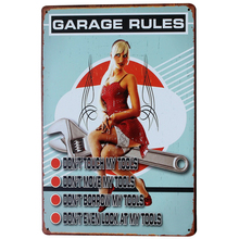 GARAGE RULES Metal Tin Sign Vintage Garage Plaque Car Board Blond Lady for shop bar pub wall painting decor LJ2-2 20x30cm B1