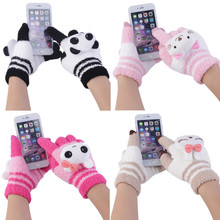 4 Color woman's gloves girls fashion in winter Warm Mittens Cute Animal Cartoon cotton Knitting Fingers gloves(China)