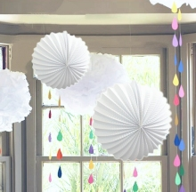 Giant White Hanging Decoration Set Pleated Lanterns Pom Poms for Weddings Baby Showers Bridal Showers Nurseries Party Decor