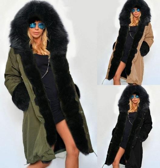 Starlist woman winter cotton liner zipper hoodie long sleeve Raccoon fur Hoodie Parkas warm long coats fur sleeve overcoats Одежда и ак�е��уары<br><br><br>Aliexpress