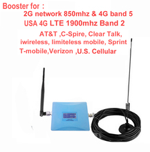 2/ antennas USA 4G booster 850mhz CDMA repeater &4G repeater 1900Mhz LTE FDD signal amplifier for AT&T Sprint Verizon T mobile